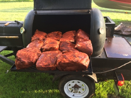 Smoked pork shoulders, ready to be pulled